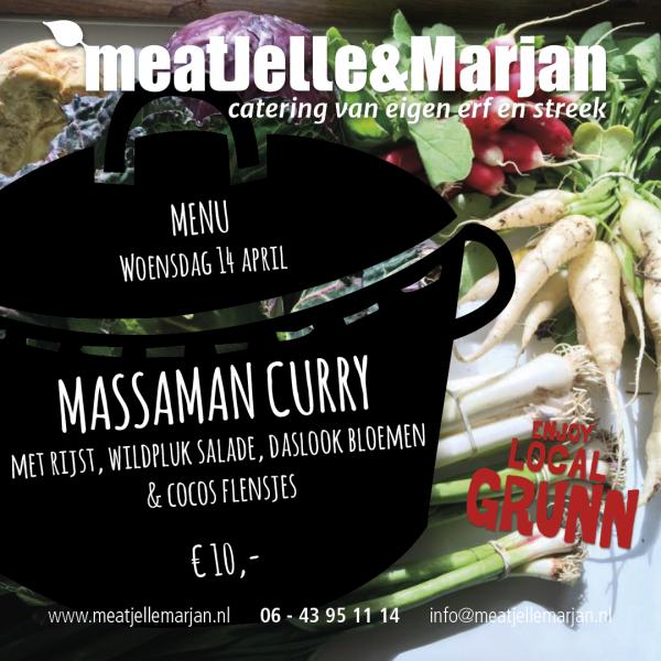 Meat Jelle en Marjan, meatjellemarjan, afhaalmaaltijden, catering, lageland, Groningen, massaman, curry, studioHille