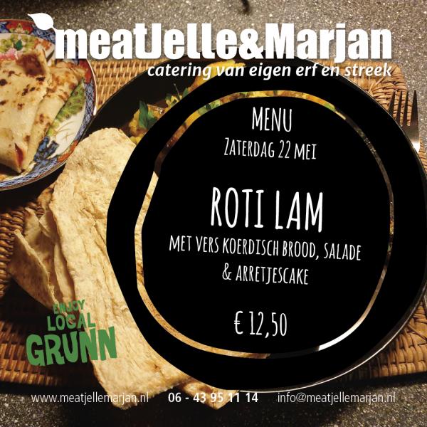Meat Jelle & Marjan, afhaalmaaltijden, catering, Lageland, Groningen, Roti Lamsvlees, studio Hille